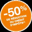 50% de réduction ou crédit d'impôt logo